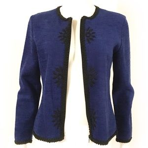 VTG DB COLLECTION blue cardi jacket, w/ embroidery